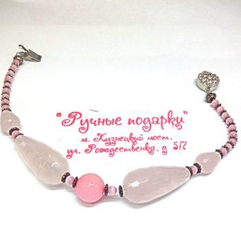 Браслет ручной работы из розового кварца