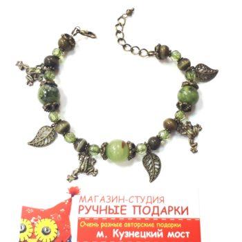 Браслет зеленый с лягушками