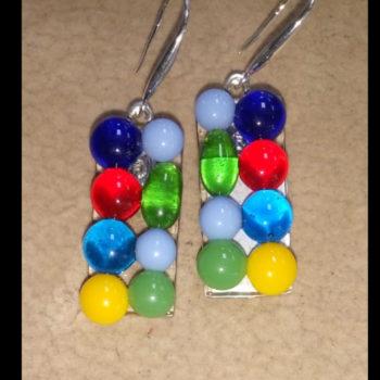 Серьги разноцветные капли стекло фьюзинг