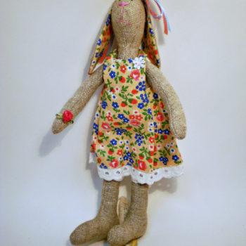 Игрушка зайка 30см в платье